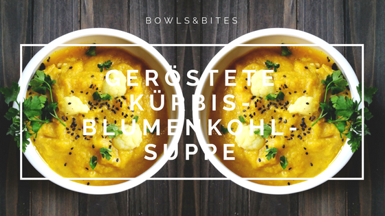 Geröstete Kürbis-Blumenkohl-Suppe mit Petersilie, Sesam und Brokkoli #vegan #paleo #laktosefrei by bowlsnbites.com