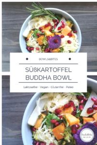 Süßkartoffel Buddha Bowl mit Orangen-Rosmarin-Dressing #glutenfrei #vegan #laktosefrei #paleo by bowlsnbites.com