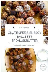 Glutenfreie Energy Balls mit Erdnussbutter, Mandeln, Datteln vegan, no-bake by bowlsnbites.com