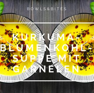 KURKUMA-BLUMENKOHL-SUPPE MIT GARNELEN
