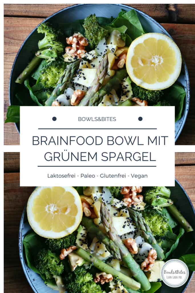 Brainfood Bowl mit grünem Spargel, Brokkoli, Spinat & Walnüssen. Vegan, Paleo, Glutenfrei by bowlsnbites.com