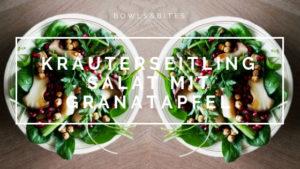 Kräuterseitling Salat mit Kichererbsen, Spinat und Granatapfel. Vegan, Vegetarisch, Laktosefrei, Glutenfrei, Eifrei, Sojafrei by bowlsnbites.com