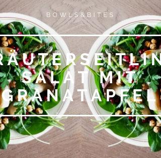Kräuterseitling Salat mit Granatapfel & Kichererbsen
