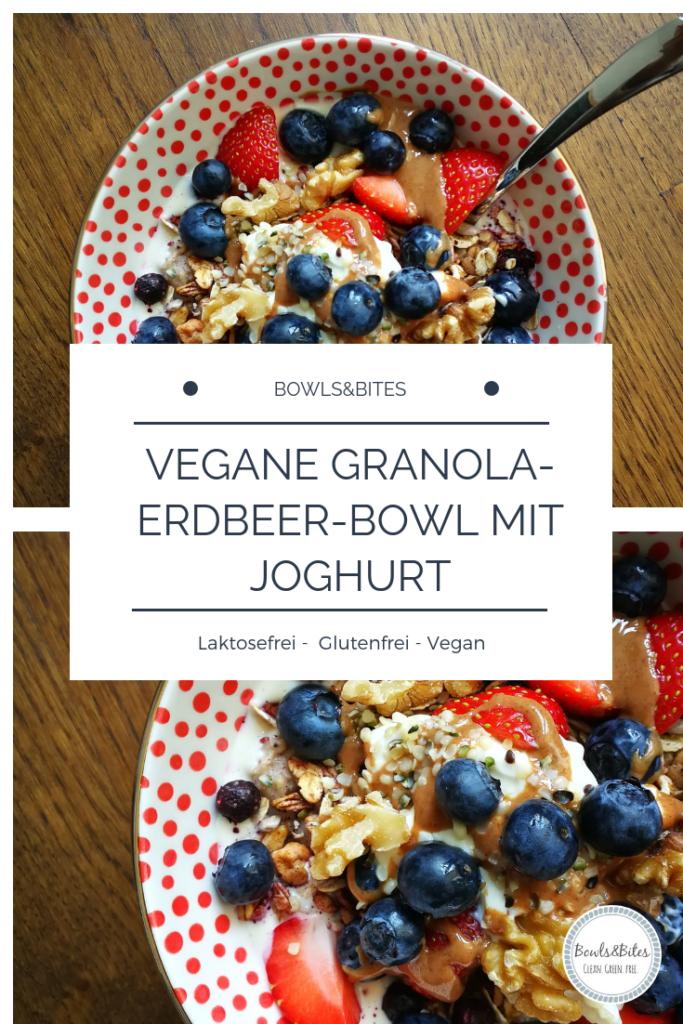 Vegane Granola-Erdbeer-Bowl mit Joghurt