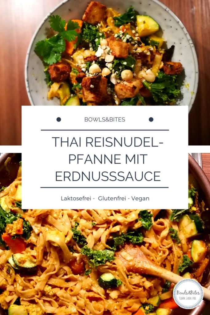 Vegane Thai Reisnudel-Pfanne mit Erdnusssauce